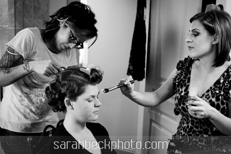 bride getting ready with for her DIY circus theme wedding
