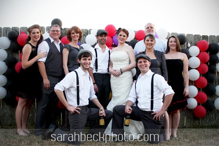 DIY circus backyard wedding formal family portrait
