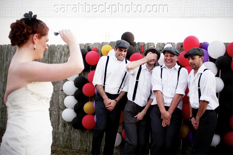 DIY circus backyard wedding fun family portrait