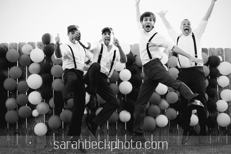 DIY circus backyard wedding groomsmen portrait