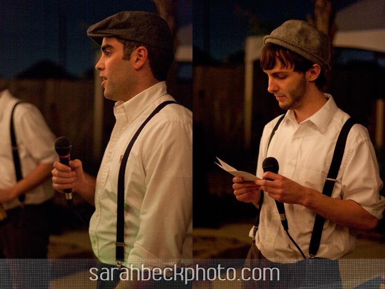 DIY circus backyard wedding reception best man speech