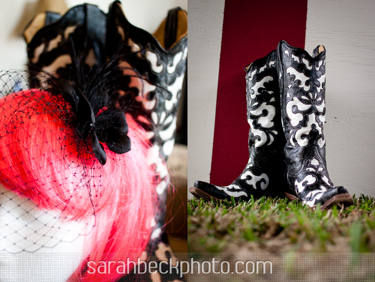 bride's black and white cowboy boots