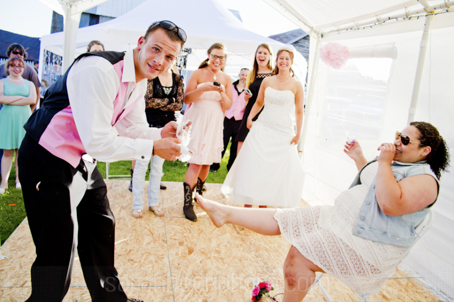 I've never seen people have so much fun with a garter before.
